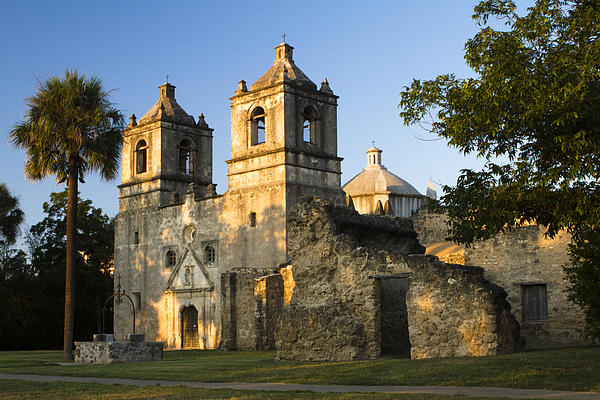 Mission Concepcion In The Evening Print by Ellie Teramoto