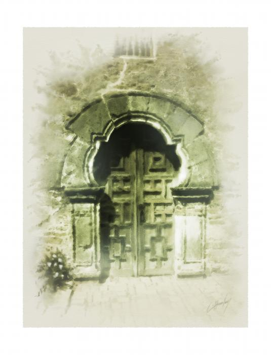 Mission Espada Chapel Door Print by Cliff Hawley