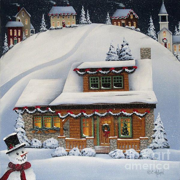 Mistletoe Cottage Print by Catherine Holman