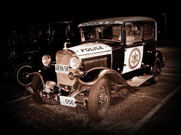 Model A Culver City Police Bw Print by David Dunham