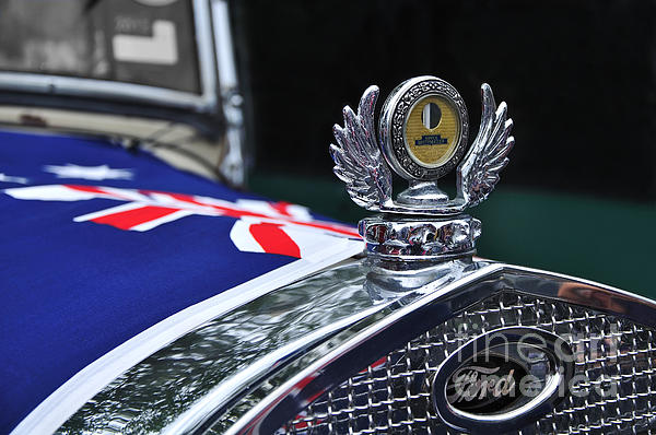 Model A Ford - Hood Ornament And Badge Print by Kaye Menner
