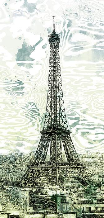 Modern-art Eiffel Tower 12 Print by Melanie Viola