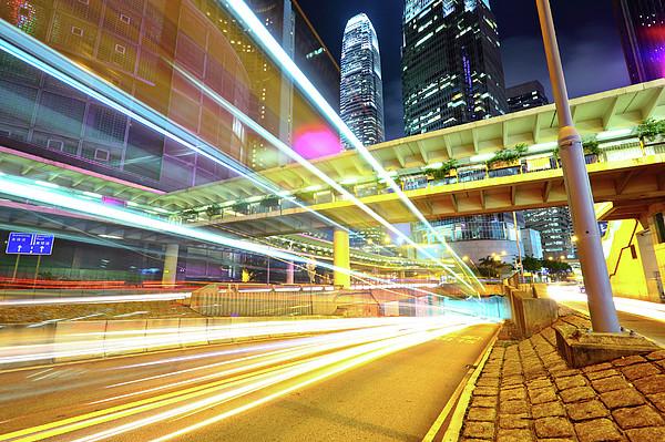 Modern City At Night Print by Leung Cho Pan