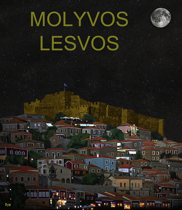 Molyvos By Night  Molyvos Lesvos Greece   Mixed Media  - Molyvos By Night  Molyvos Lesvos Greece   Fine Art Print