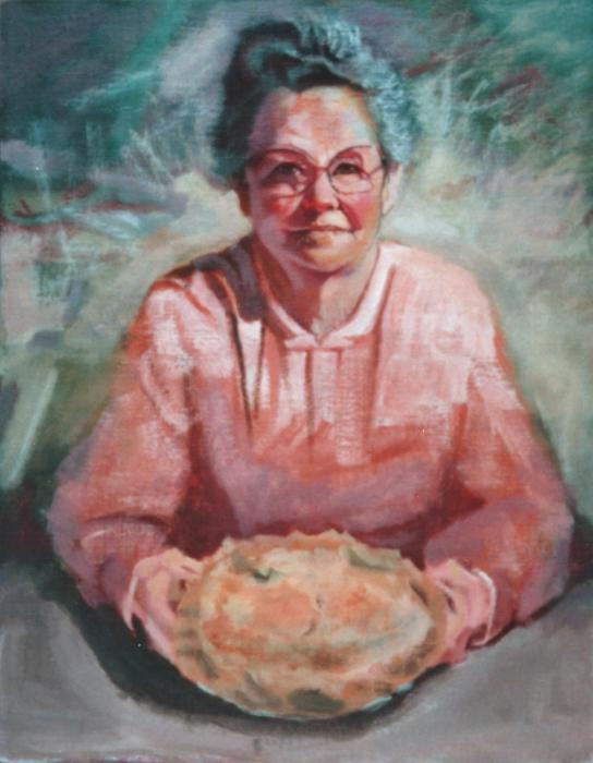 Mom and Apple Pie Painting  - Mom and Apple Pie Fine Art Print
