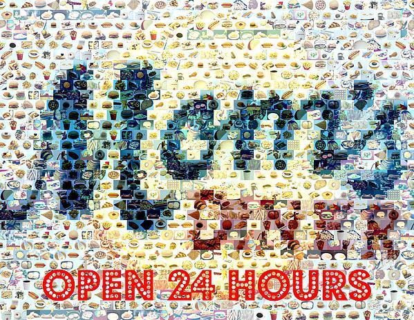 Moms Diner Food Mosaic Print by Paul Van Scott