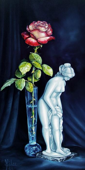 Moms Rose Dads Statue Print by Gilee Barton