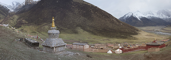 Monastery Buildings In Mountain Valley Print by Phil Borges