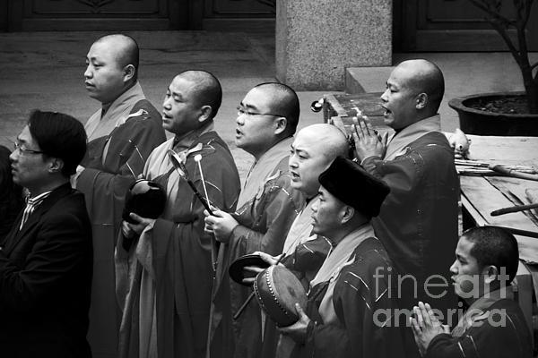 Monks Chanting - Jing'an Temple Shanghai Print by Christine Till