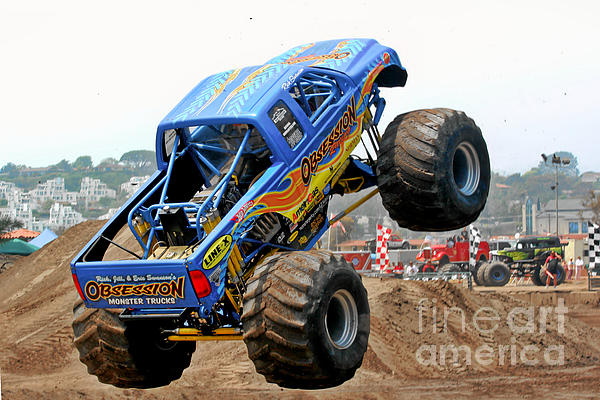 Monster Trucks - Big Things Go Boom Print by Christine Till