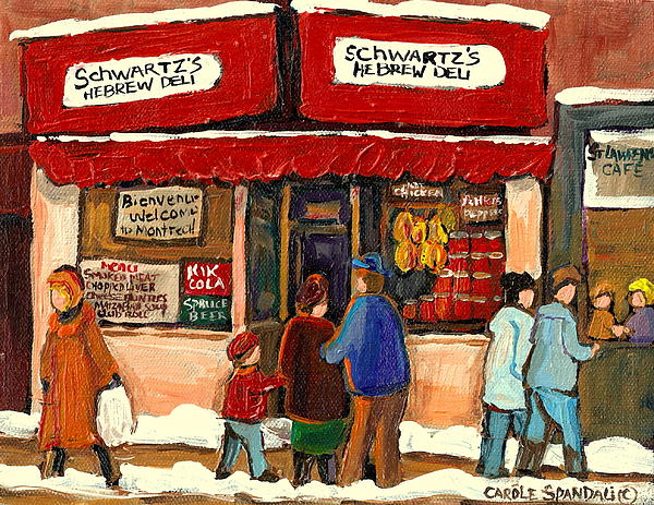 Montreal Hebrew Delicatessen Schwartzs By Montreal Streetscene Artist Carole Spandau Print by Carole Spandau