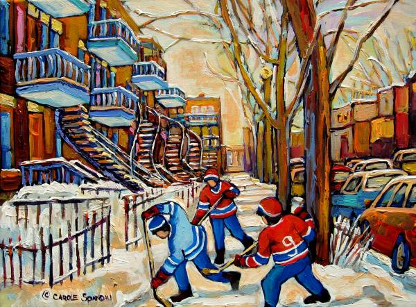 Montreal Hockey Game With 3 Boys Print by Carole Spandau