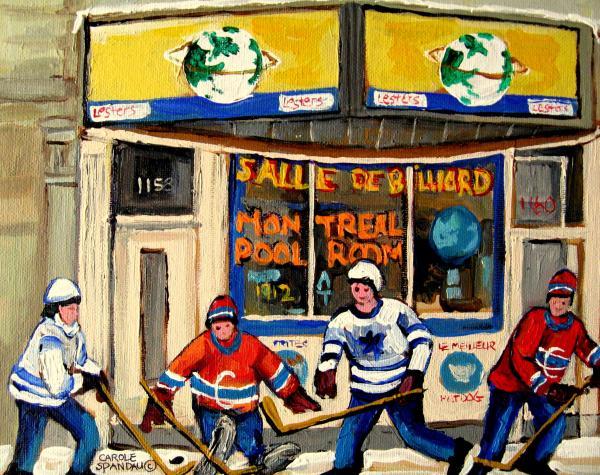 Montreal Poolroom Hockey Fans Print by Carole Spandau