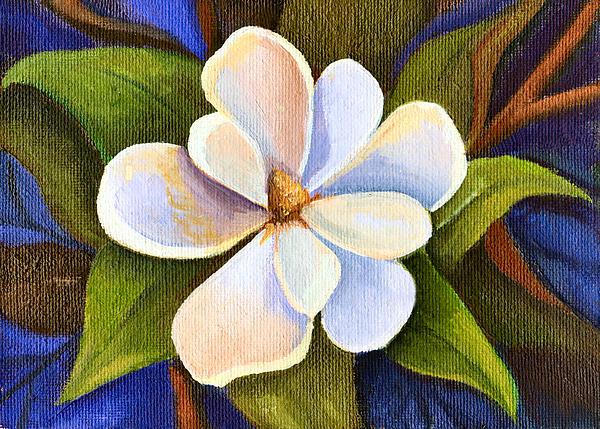 Moon Light Magnolia Print by Elaine Hodges