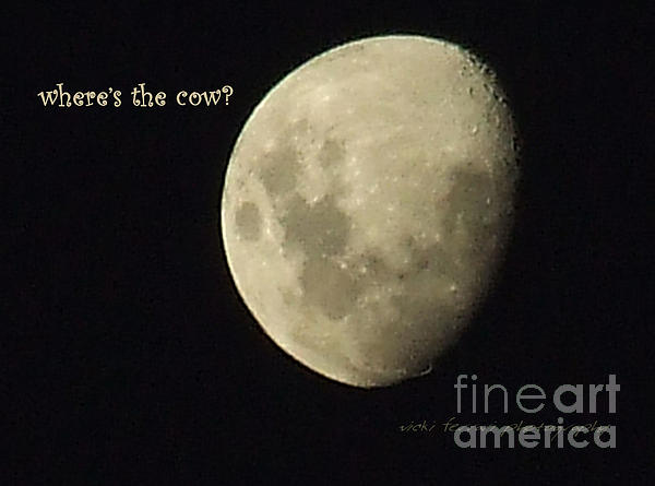 Moon Missing Cow Print by Vicki Ferrari