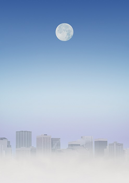 Moon Over Buildings Print by Kelly Redinger