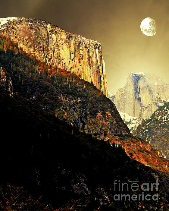 Moon Over Half Dome . Portrait Cut Print by Wingsdomain Art and Photography