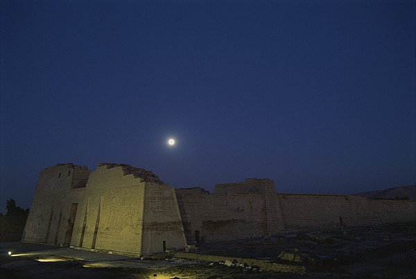 Moon Over Medinet Habu, The Temple Print by Kenneth Garrett