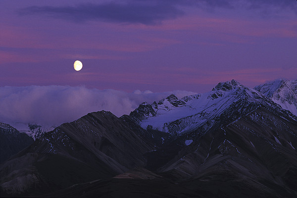 Moon Over Mountains Print by Nick Norman