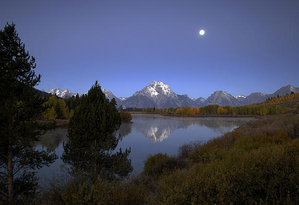 Gordon Ripley - Moon over Oxbow Bend   The Grand Tetons