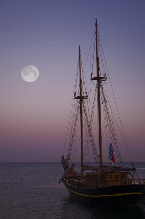 Moonlight In The Med Print by Mark H Roberts