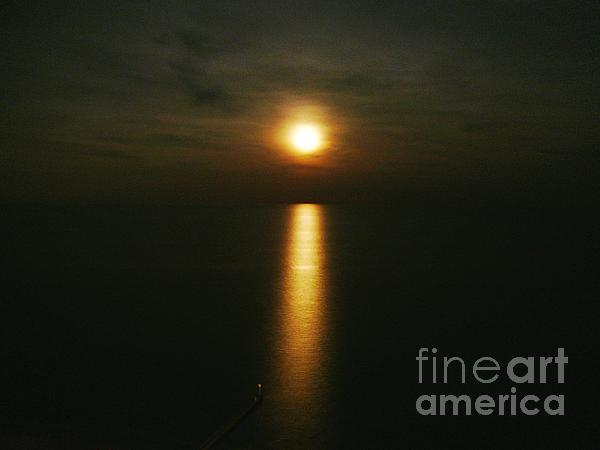 Moonlight Over The Sea _ Lido De Jesolo Print by AmaS Art