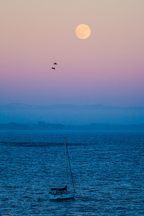 Moonrise Over Capitola Print by Tommy Farnsworth