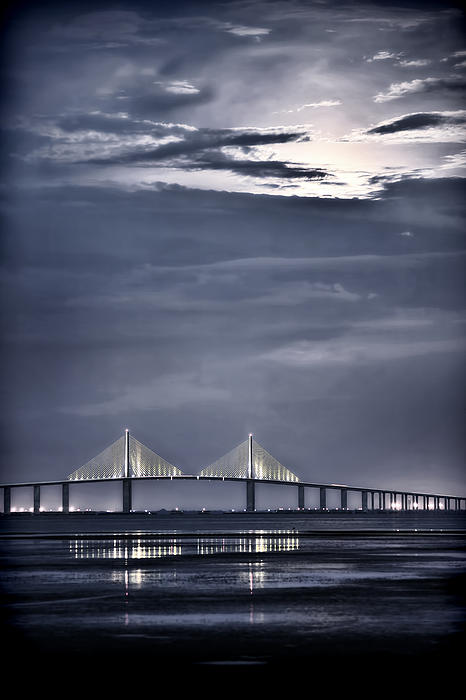 Moonrise Over Sunshine Skyway Bridge Print by Steven Sparks
