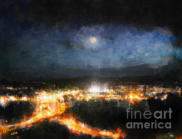 Moonshine Over Prescott Print by Arne Hansen