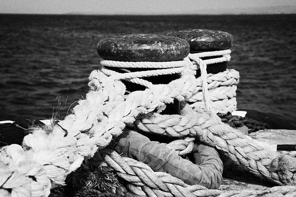 Mooring Ropes On Old Metal Harbour Bollard Scotland Print by Joe Fox