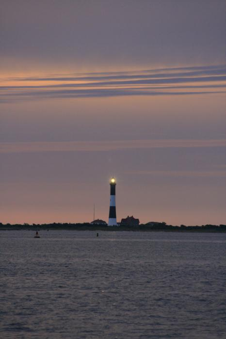 Morning Flash Of Fire Island Light Print by Christopher Kirby