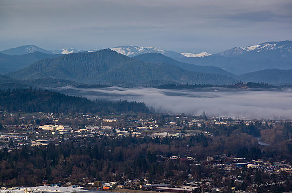 Morning Fog Over Grants Pass Print by Mick Anderson
