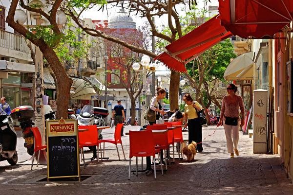 Morning On A Street In Tel Aviv Print by Zalman Lazkowicz