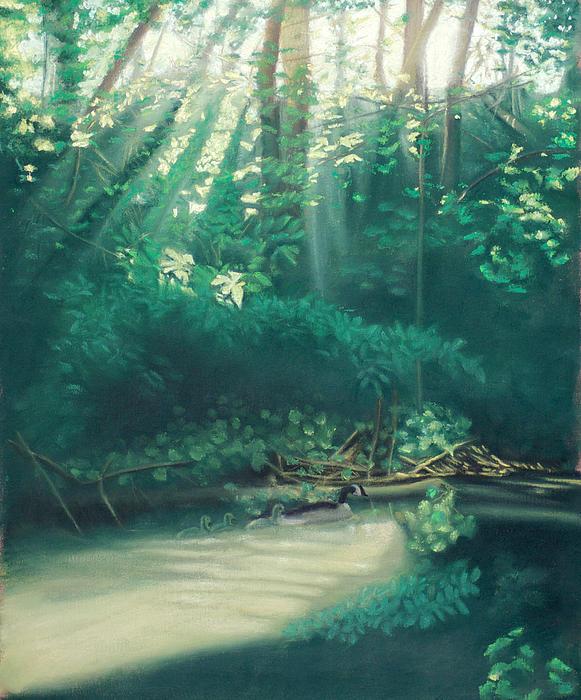 Morning On The Creek Print by Bernadette Kazmarski