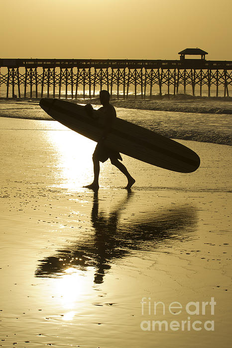 Morning Session Longboard Surfing Folly Beach Sc  Print by Dustin K Ryan