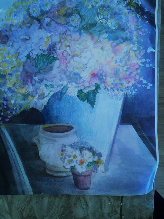 Morning Table With Bouquet And Cups Print by Anne-Elizabeth Whiteway