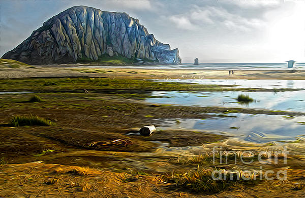 Morro Bay - Morro Rock Print by Gregory Dyer