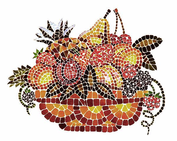 Mosaic Fruits Print by Irina Sztukowski