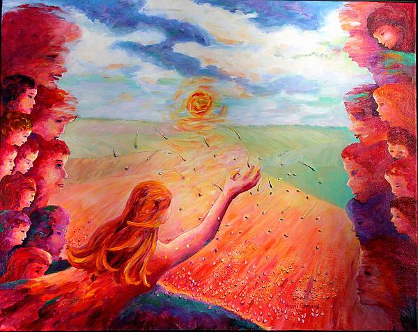 Mother Earth Seeding The Prairies Print by Naomi Gerrard