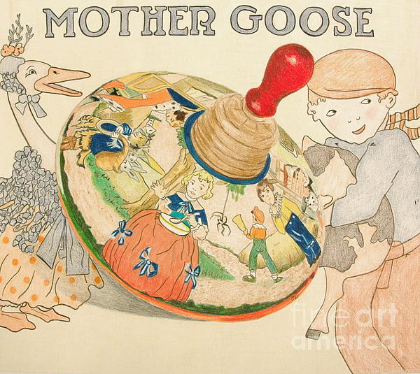Mother Goose Spinning Top Print by Glenda Zuckerman