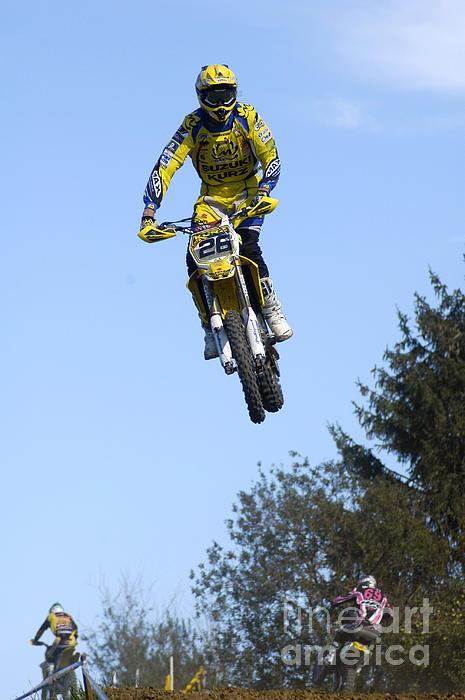 Motocross Rider Jumping High Print by Matthias Hauser