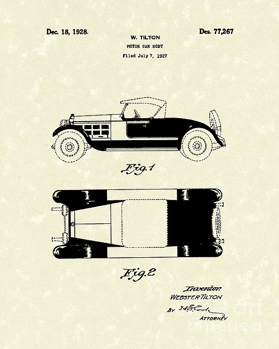 Motor Car Tilton 1928 Patent Art Print by Prior Art Design