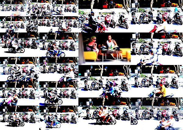 Motorbike Watching On Ubud Streets   Print by Funkpix Photo Hunter