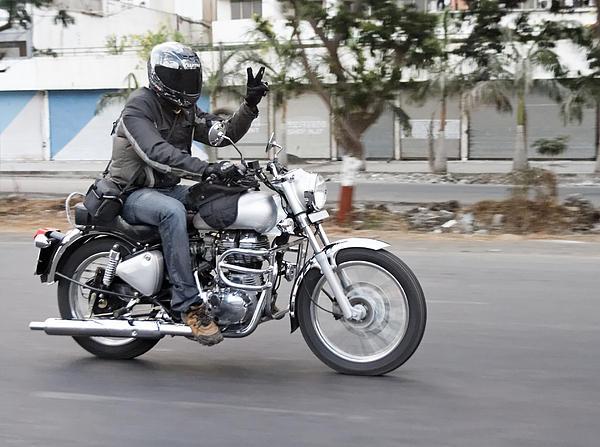 Motorbiker Peace Print by Kantilal Patel
