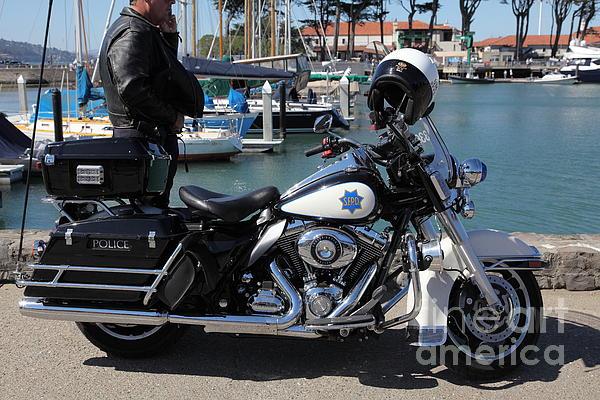 Motorcycle Police At The San Francisco Marina - 5d18266 Print by Wingsdomain Art and Photography
