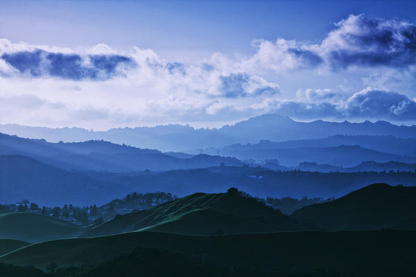 Mount Diablo In Blue Mood Print by Laszlo Rekasi