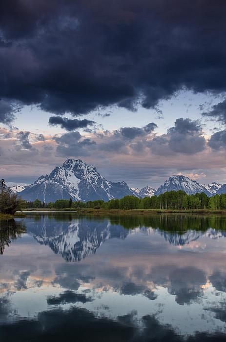 Mount Moran Under Black Cloud Print by Greg Nyquist