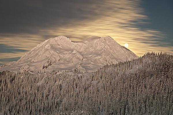 Mount Rainier Full Moonrise Winter Print by Ed Book