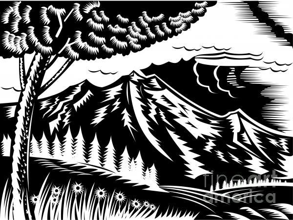 Mountain Scene Woodcut Print by Aloysius Patrimonio