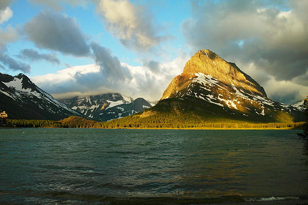 Mountains At Many Glacier Print by Jeff  Swan